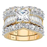 14K Yellow Gold over Sterling Silver Princess Cut Cubic Zirconia 3-Pc. Bridal Ring Set