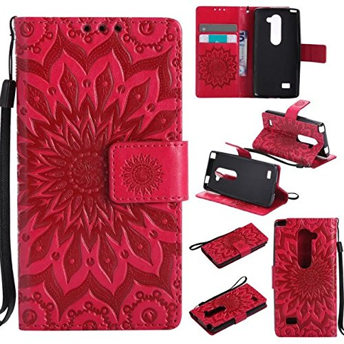 LG Leon H345/H340 Case,Magnetic Closure PU Leather 3D Sunflower Embossed Wallet Case Folio Flip Case with Strap and Card Slots for LG Leon C40/LG Risio 4G LTE (Iphone 4 Diamond Sunflower Case)