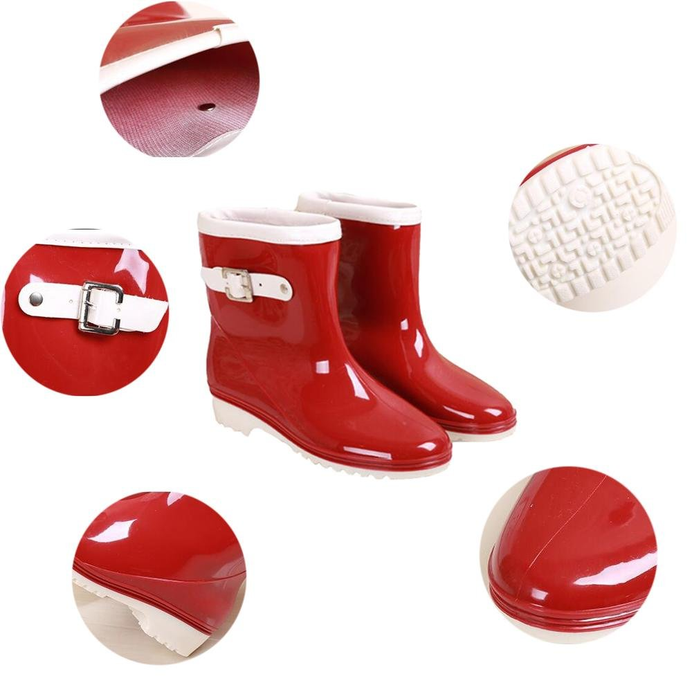 SIHUINIANHUA Frau Schlauch Gelee Regen Stiefel Tragen Wasserdichte Wasserdichte Wasserdichte Regen Stiefel Überschuhe Schuhe, rot, 36 B07H8WQX74 Sport- & Outdoorschuhe Schönes Design aa5108