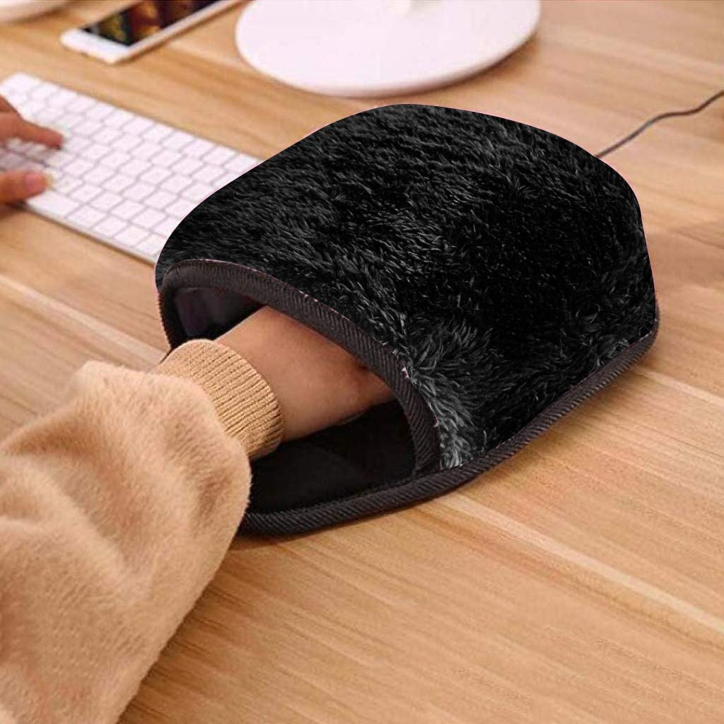USB Power Supply Hand Warmer Mat with Wrist-Guard Rest Support Cushion Plush Thick Cover for Warm Winter Flurries Heated-Mitten Mouse Pad Ergonomic Non Slip for Office Work Home Study