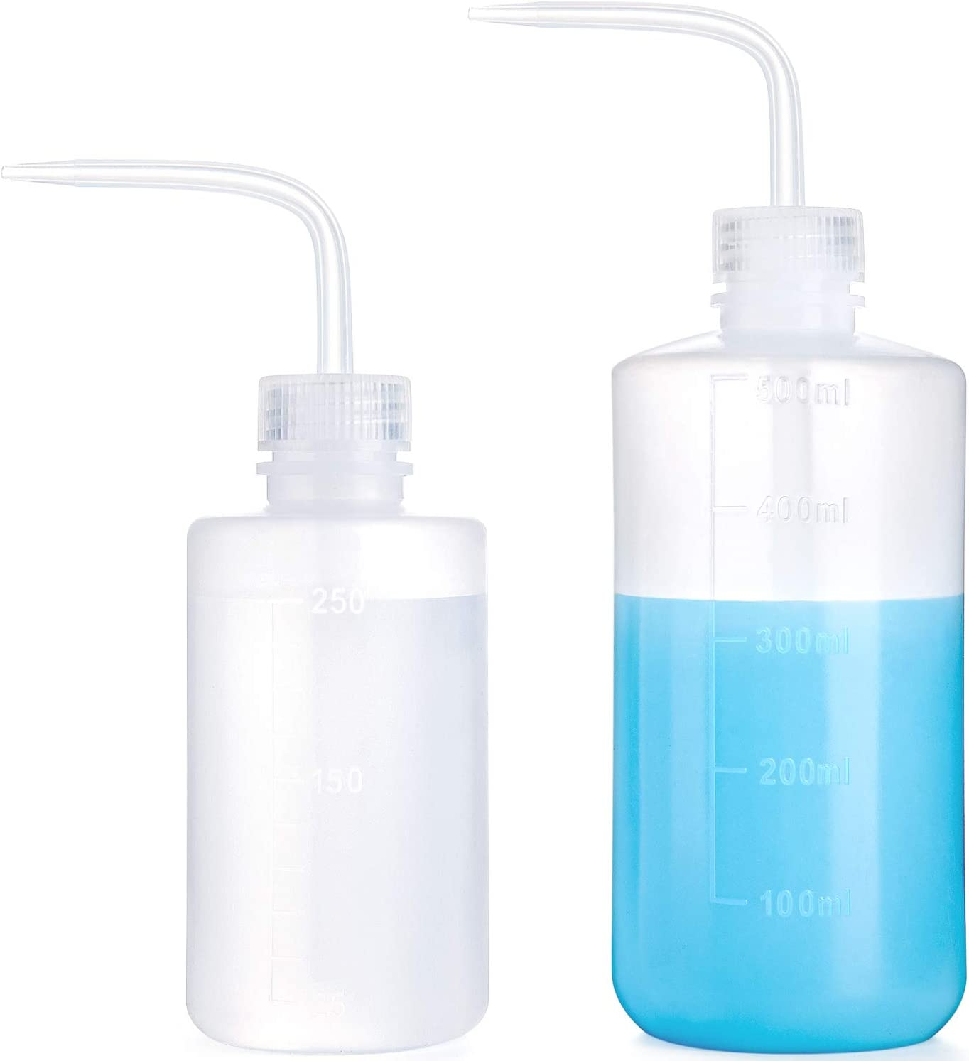Mkono 2 Pack Plant Flower Succulent Watering Bottle Plastic Bend Mouth Watering Cans Safety Wash Bottle Squeeze Bottle 250ML and 500ML, Small and Medium : Garden & Outdoor