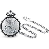 Elk Deer Hunter Reindeer White Dial Mens Pocket Watch Matt Silver Tone Plated Alloy with Chain