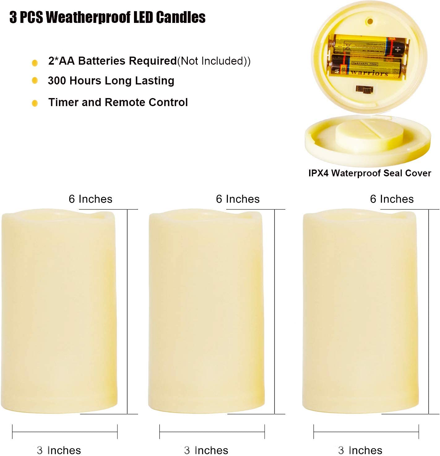 H 4 5 6x D 3Set of 3 Battery Operated LED Flickering Candles with Amber Yellow Light SWEETIME Outdoor Waterproof Flameless Candles with Timer/& Remote Control