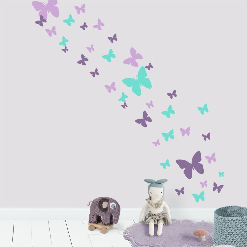 Butterfly Wall Decals Beautiful Girls Wall Stickers Wall Art Vinyl Stickers for Bedroom Peel and Stick Kids Room Decor Nursery Toddler Teen Decorations Playroom Birthday Gift (Lavender,Lilac,Mint)