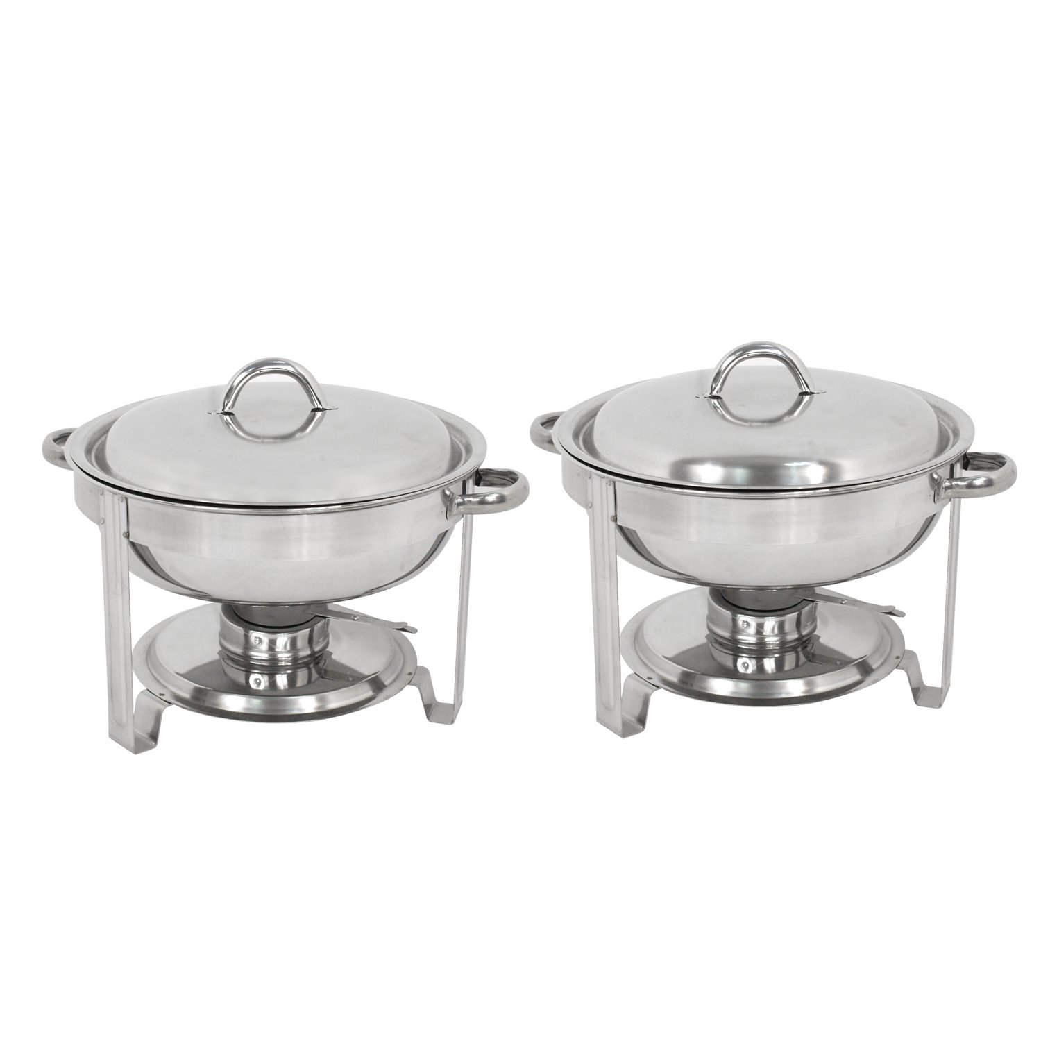Deluxe Stainless Steel Chafing Dish Round Chafer with Lid 5 Quart,Dinner Serving Buffet Warmer Full Size (2)