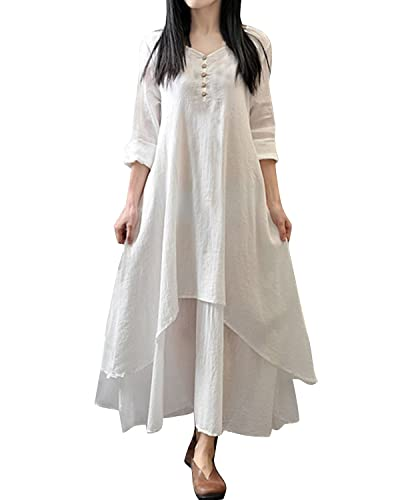 ZANZEA Ladies V-Neck Button Cotton Line Loose Long Maxi A-Line Irregular Hem Dress