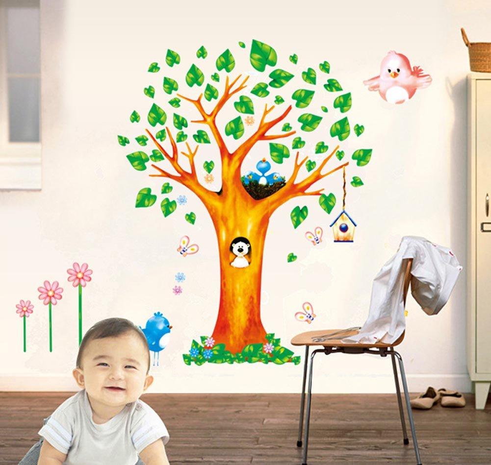 BIBITIME 7 Birds on the Green Leaves Tree Branch Wall Decal Nursery Bedroom Study Vinyl Sticker for Kids Room Decor Art Mural, 51 x 37 51 x 37