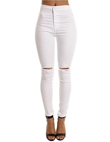784a950815670c MODETREND Donna Pantaloni Lunghi Jeans Strappati Elastico Vita Alta Skinny  Denim Casuale Trousers Butt Enhancer Slim