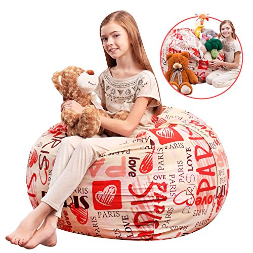 5 STARS UNITED Stuffed Animal Storage Bean Bag - Kids Comfy Chair and Extra-Large Toy Organizer. Сover Only. Stuff, Zip and Sit. 38