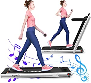 GYMAX 2 in 1 Folding Treadmill, 2.25HP Under Desk Electric Pad Treadmill, Portable Walking Jogging Running Machine, Motorized Flat Treadmill with Audio Bluetooth Speakers, Remote Controller