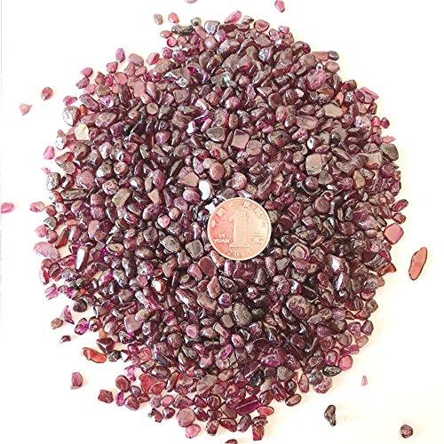 AITELEI 1 lb Natural Rose Garnet Crushed Stone Healing Reiki Crystal Irregular Shaped Stones Jewelry Making Home Decoration