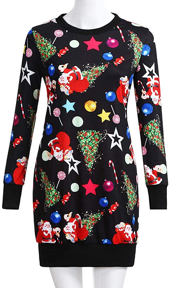VEMOW Gifts for Family Party Christmas Dress for Women Christmas Long Sleeve Jumper Pullover Sweatshirt Mini Dress