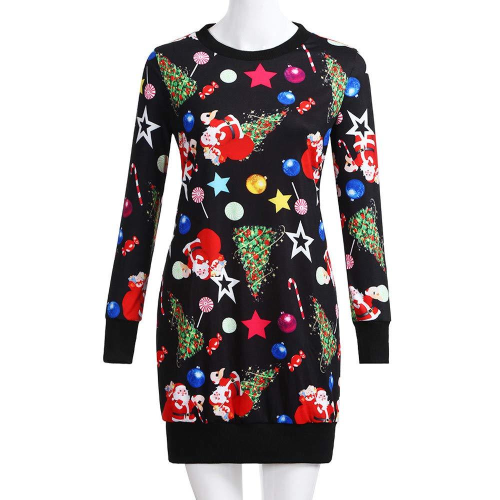 2020 Robe Renne Imprim/é Manches Longue R/étro Mini Robe de F/ête Grande Taille Costume Robe Pullover Blouse Haut Chaud Id/ées Cadeaux ZEELIY Robe de No/ël Femme