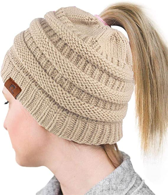 ALPSAZON Beanie Ponytail Hat for Women Messy High Bun Cute Cable Kint Cap Pony Tail Hat