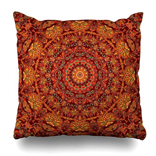 Ahawoso Throw Pillow Covers Cases Tiles Red Arabesque Watercolor Pattern Ceramic Persian Abstract Arabic Bandana Batik Indonesia Home Decor Cushion Square Size 20