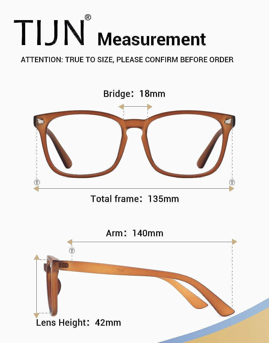 TIJN Blaulichtfilter Nerdbrille Optische Brille Ohne Sehst/ärke Retro Klare Linse Brille Damen Herren