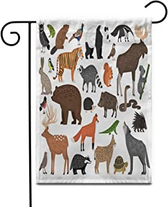 """Awowee 28""""x40"""" Garden Flag Zoo Collection of Forest Wild Animals Frog Pheasant Badger Outdoor Home Decor Double Sided Yard Flags Banner for Patio Lawn"""