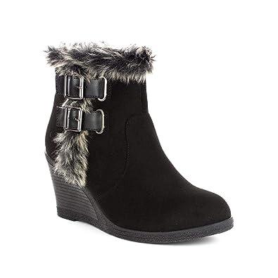 d358c76cf60 Lilley Womens Black Faux Fur Trim Wedge Ankle Boot - Size 3 UK - Black