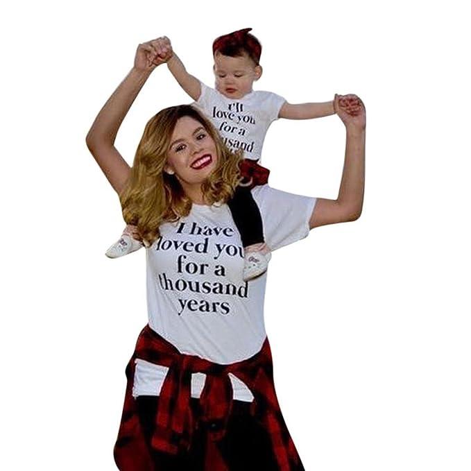 PAOLIAN Camisetas para Madre e Hijo Verano Casual Trajes a Juego de mamá y niños Impresiones