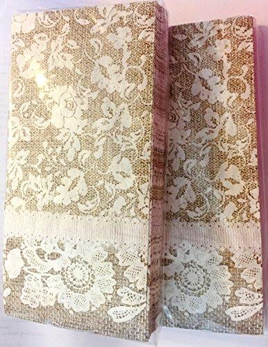 Burlap & Lace 2- Pack Paper Napkins, Wedding, Tea Party, Showers, Party, Luncheon Size