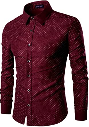 AOWOFS Camisa de punto para hombre, de algodón, ocio, corte regular, manga larga, para negocios, no necesita planchado