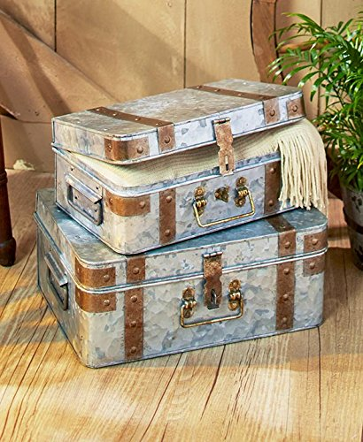The Lakeside Collection Set of 2 Metal Trunks Galvanized by The Lakeside Collection