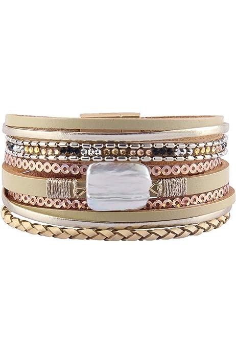 HUA JU Multilayer Leather Magnet Buckle Bracelet Leopard Print Black Stone Bracelet for Glamour Fashion Women