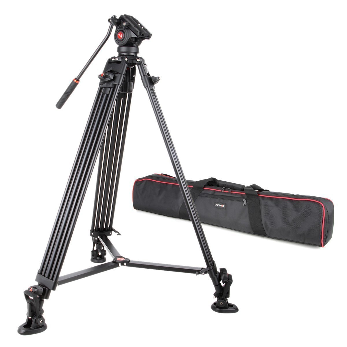 VILTROX VX-18M Professional Heavy Duty Video Camcorder Tripod with Fluid Drag Head and quick release plate, 74'' inch,Max loading 10KG, with Carrying bag,Horseshoe Shaped bracket