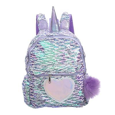 TENDYCOCO Unicorn Backpack Flip Sequin Bookbag with Hairball Glitter Daypack for Girls Teens   Kids' Backpacks