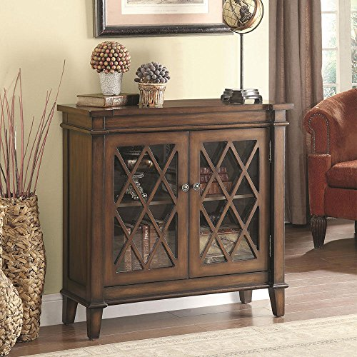 1PerfectChoice Accent Country Style Cabinet Console Sofa Table Lattice Overlay Doors Warm Brown