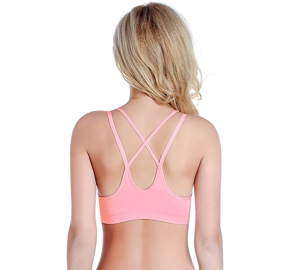 Befamous Women's Padded Wire Free Cool-look Criss Cross Back Yoga Sports Bra
