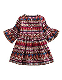 LIKESIDE Baby Girls Long Sleeve Print Bohemian Style Party Dress Outfits Clothes
