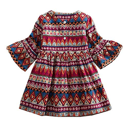 Price comparison product image LIKESIDE Toddler Baby Girls Long Sleeve Print Bohemian Style Party Dress Outfits Clothes