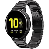 Shangpule Compatible for Galaxy Watch Active 2 40mm Bands, Active2 44mm Band, 20mm Stainless Steel Strap Compatible for…