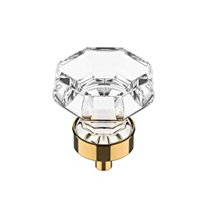 "(10 Pack) Alzassbg Hardware Octagon Clear Crystal Glass Cabinet Knobs with Polished Brass Base for Cupboard and Drawer - 1-3/8""(35mm) Diameter AL1021"