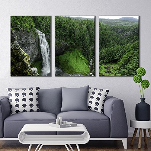 3 Panel Majestic Natural Landscape Triptych Series Waterfall in Rainforest x 3 Panels