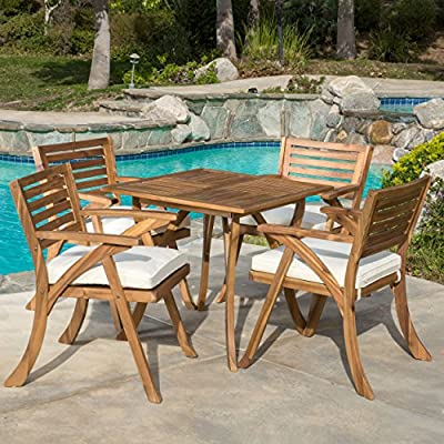 Christopher Knight Home 296620 Deal Furniture Deandra | 5-Piece Outdoor Dining Set with Cu, Natural Wood Stain - Includes: Four (4) Arm Chairs, One (1) Table Arm Chair Dimensions: 26.77 inches deep x 24.80 inches wide x 34.25 inches high | Seat Width: 20.47 inches | Seat Depth: 20.07 inches | Seat Height: 17.52 inches | Arm Height: 26.38 inches | Table Dimensions: 31.50 inches long x 31.50 inches wide x 29.50 inches high Materials: Acacia Wood | Cushions: Water Resistant Fabric - patio-furniture, dining-sets-patio-funiture, patio - 61fy68sFkjL. SS400  -