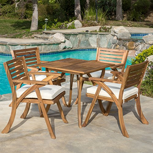 Dining Set Table Teak (Great Deal Furniture Deandra | 5-piece Wood Outdoor Dining Set with Cushions | Perfect For Patio | with Teak Finish)