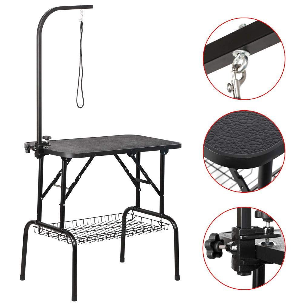 Yaheetech Pet Dog Grooming Table Adjustable Height - 32'' Drying Table w/Arm/Noose/Mesh Tray for Small Dogs Cats Portable Non-Slip Maximum Capacity Up to 220lbs Black by Yaheetech (Image #1)