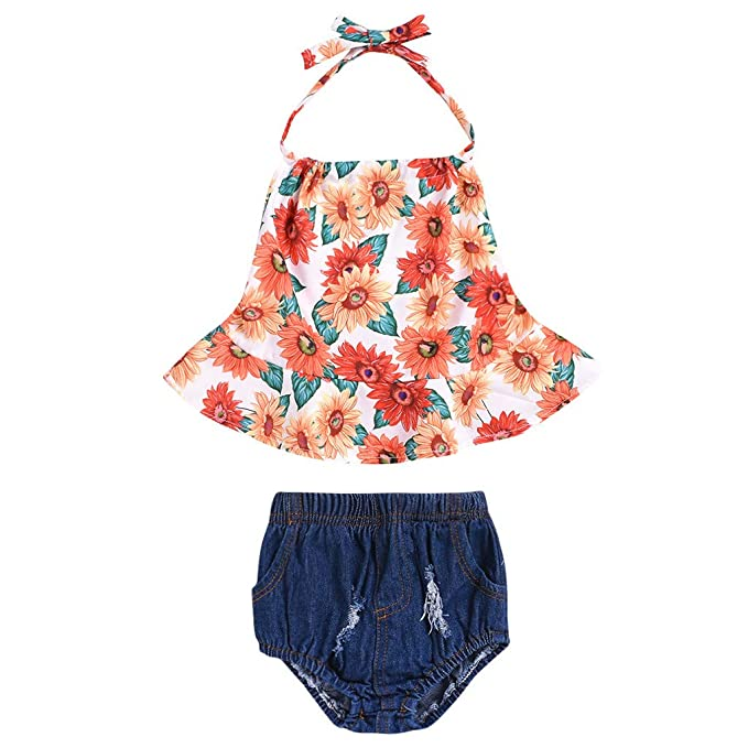 0a988098 Baby Girl Shorts Set Outfit Sleeveless Floral Print Backless Tank Top+Jeans  Denim Shorts Outfit