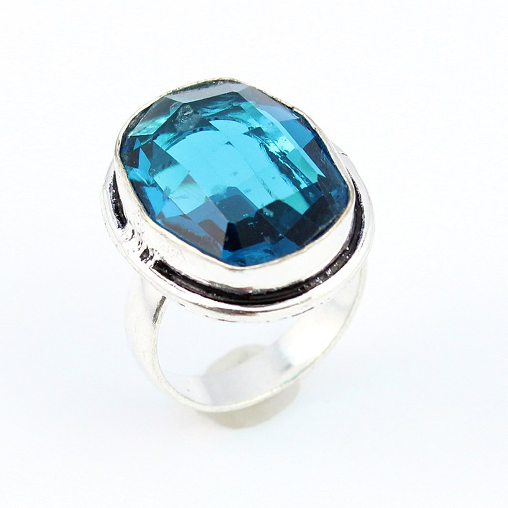 BLUE TOPAZ FASHION JEWELRY .925 SILVER PLATED RING 7 S15726