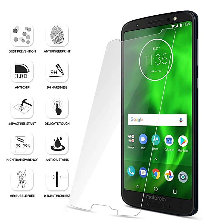amazon com moto g6 screen protector poetic hd clear case friendly anti fingerprint premium tempered glass screen protector for motorola moto g6 clear