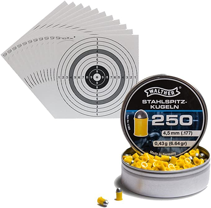 250 Walther Steel Claw The Ball Calibre 4 5 Mm With 10 Shoxx Shoot Club Air Rifle Airsoft Targets 14 X 14 Cm Sport Freizeit