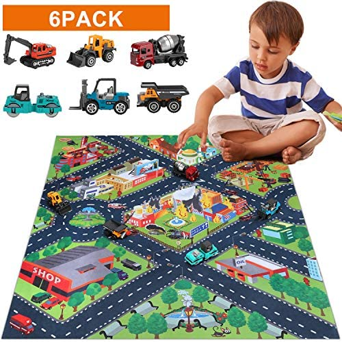 SunbriloStore Toys for 3 4 5 6 Year Old Boys,Boy Toys,Construction Vehicles Truck Toys Set with Play Mat, Mini Engineering Diecast Trucks Toys, 6 Color Trucks Toys and Play Mat, Tfor Toddlers, Kids