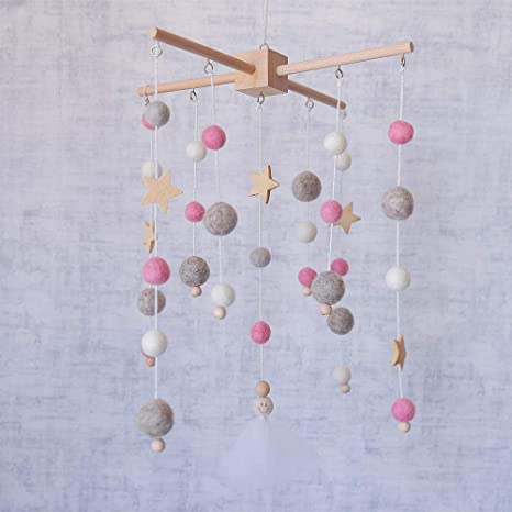 Wool Ball Baby Mobile Wind Chimes Newborn Baby Bed Bell String Pendant Kids Room Decoration Wall Hanging Ornament DIY Creative Crafts Decorations Set