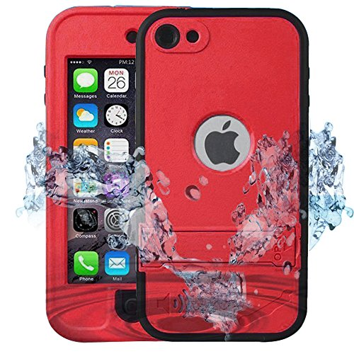 iPod 6 Waterproof Case,Comsoon[Dustproof Sweatproof]iPod 5 Touch Defender Case Built-in Touch Screen & Kickstand For Boys Girls (Red)