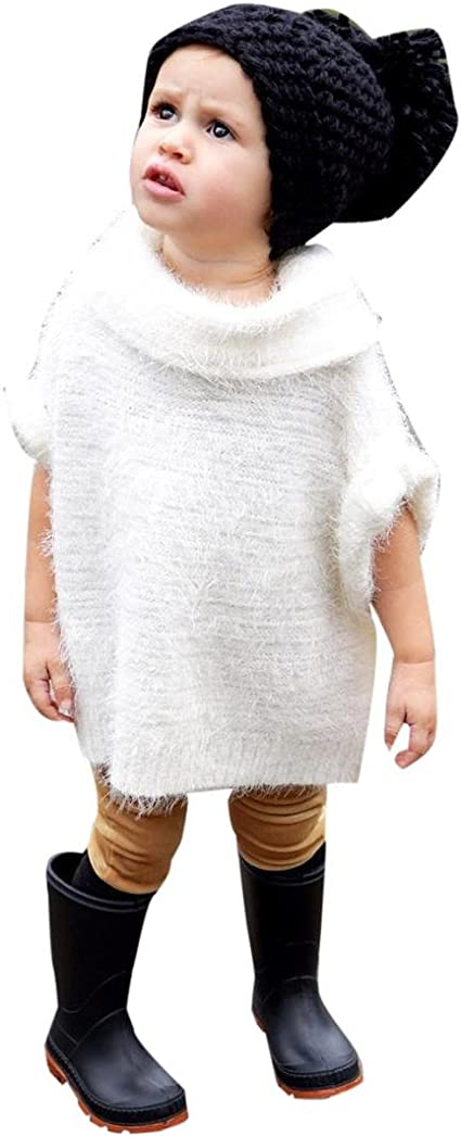 Sunbona Toddler Baby Girls Sleeveless Knitted Sweater Jumper Shawls Autumn Winter Cardigan Cape Cloak Coat Tops