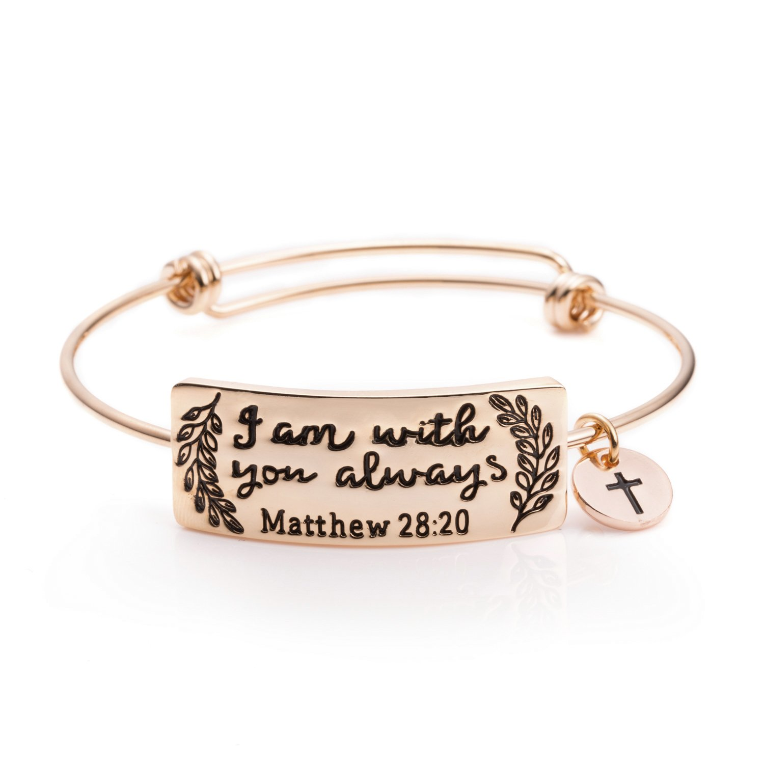 Bible Verse Bracelet Christian Gift Religious Jewelry for Women Inspirational Bangle Engraved I Am With You Always(Rose Gold)