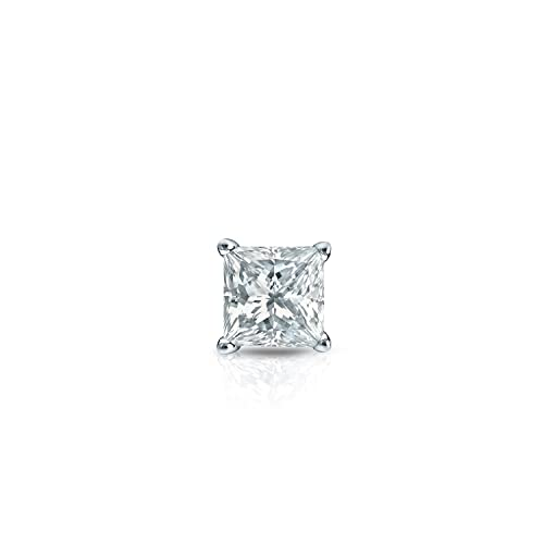 18c4427df 14k White Gold 4-Prong Basket Princess-cut Diamond SINGLE STUD Earring (1