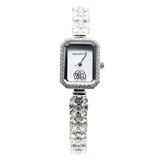 Fashion Women Wristwatch 925 Sterling Silver Topaz Gemstone Watch